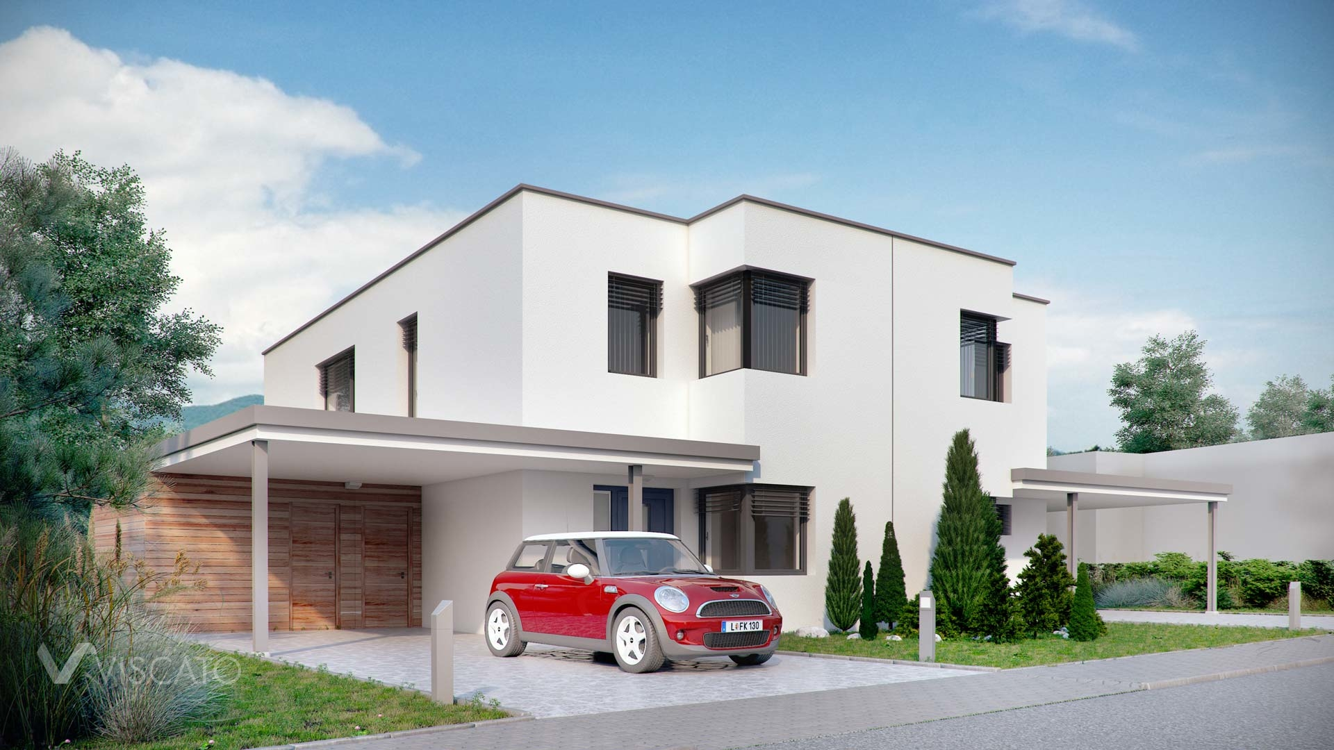 Linz twin house exterior visualization with car