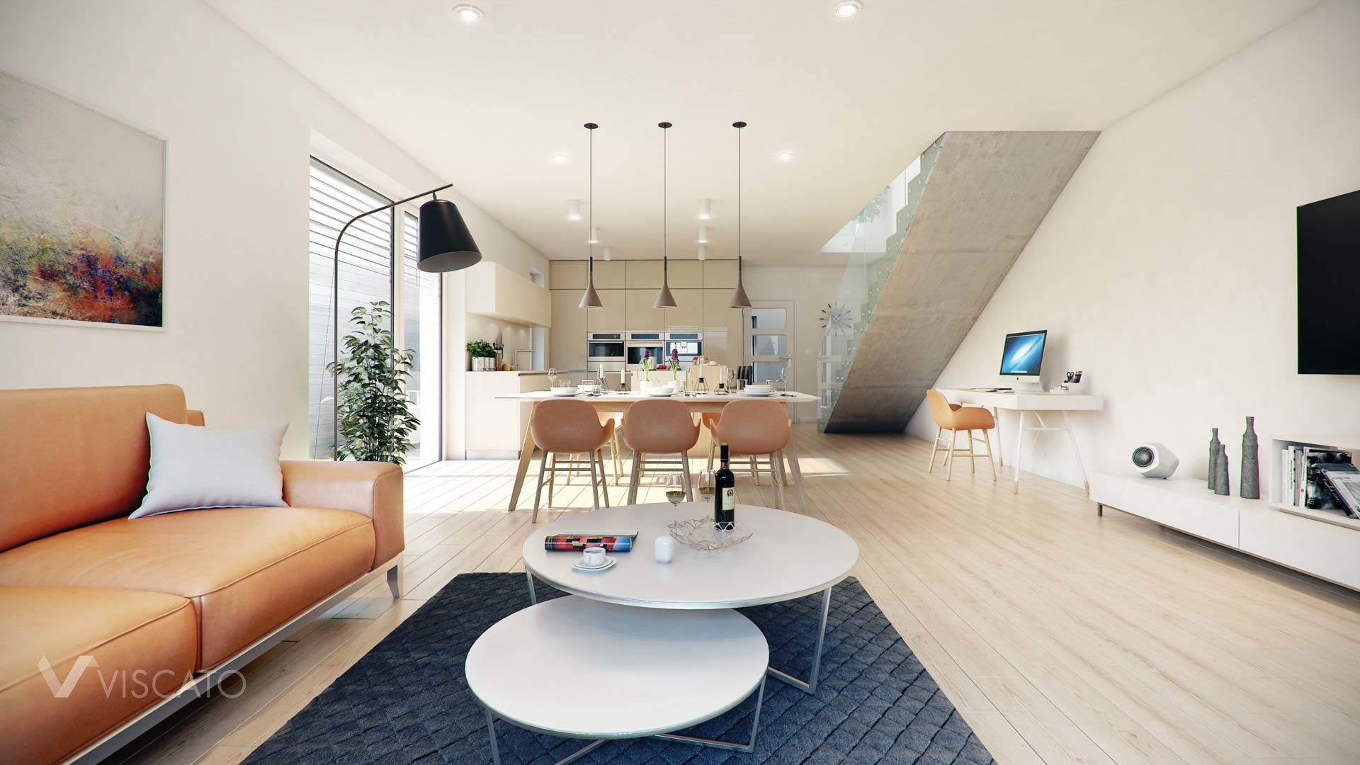 Linz twin house interior visualization of living room with kitchen