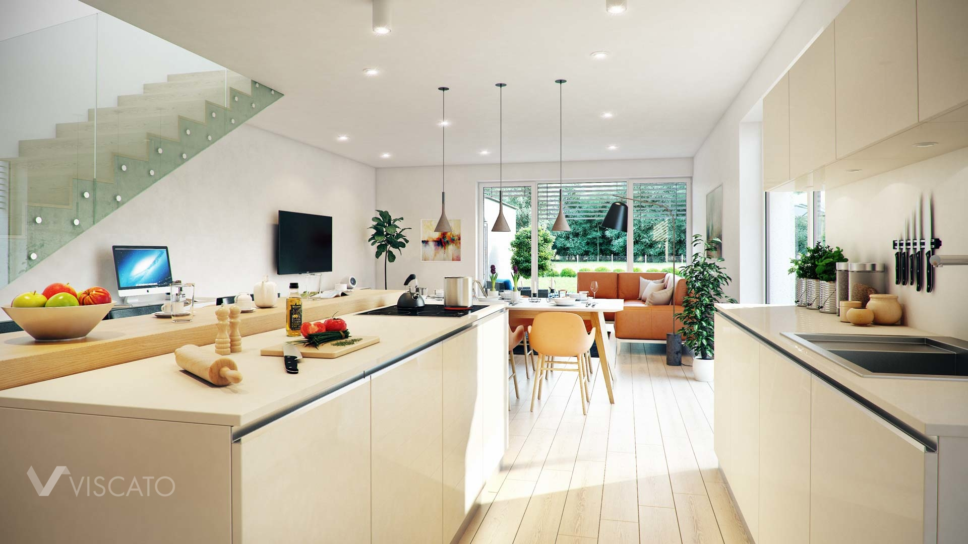 Linz twin house interior visualization kitchen view on living room