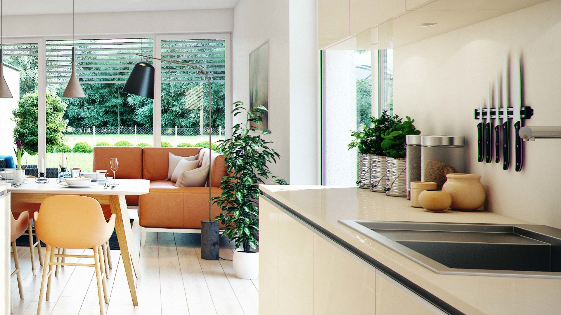 Linz twin house interior visualization detail of kitchen and living room