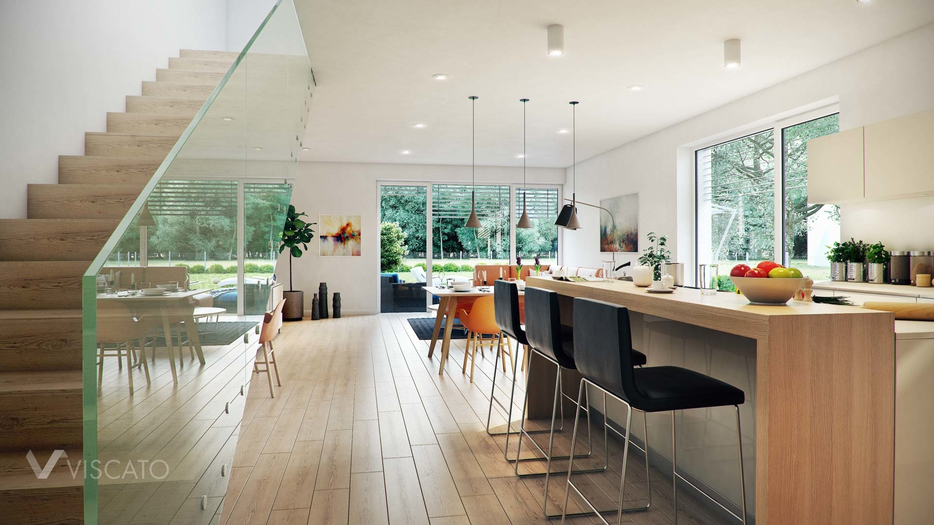 Linz twin house interior visualization view on stairs and kitchen