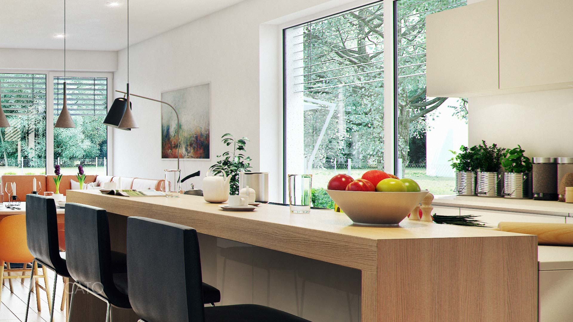 Linz twin house interior visualization with detail of kitchen and fruits