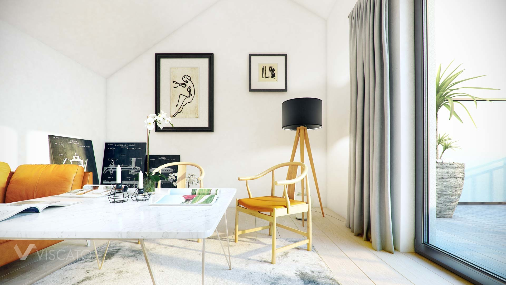 Attic interior - room with chairs, table and terrace entrance