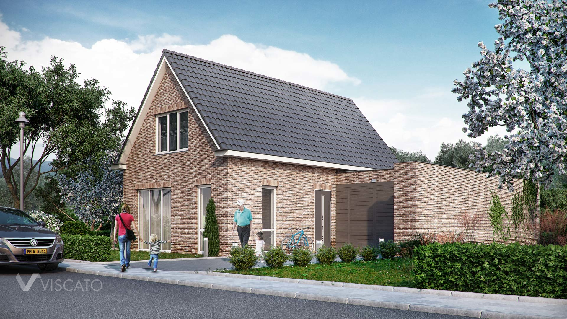 3d Visualization of brick house with garrage - street side
