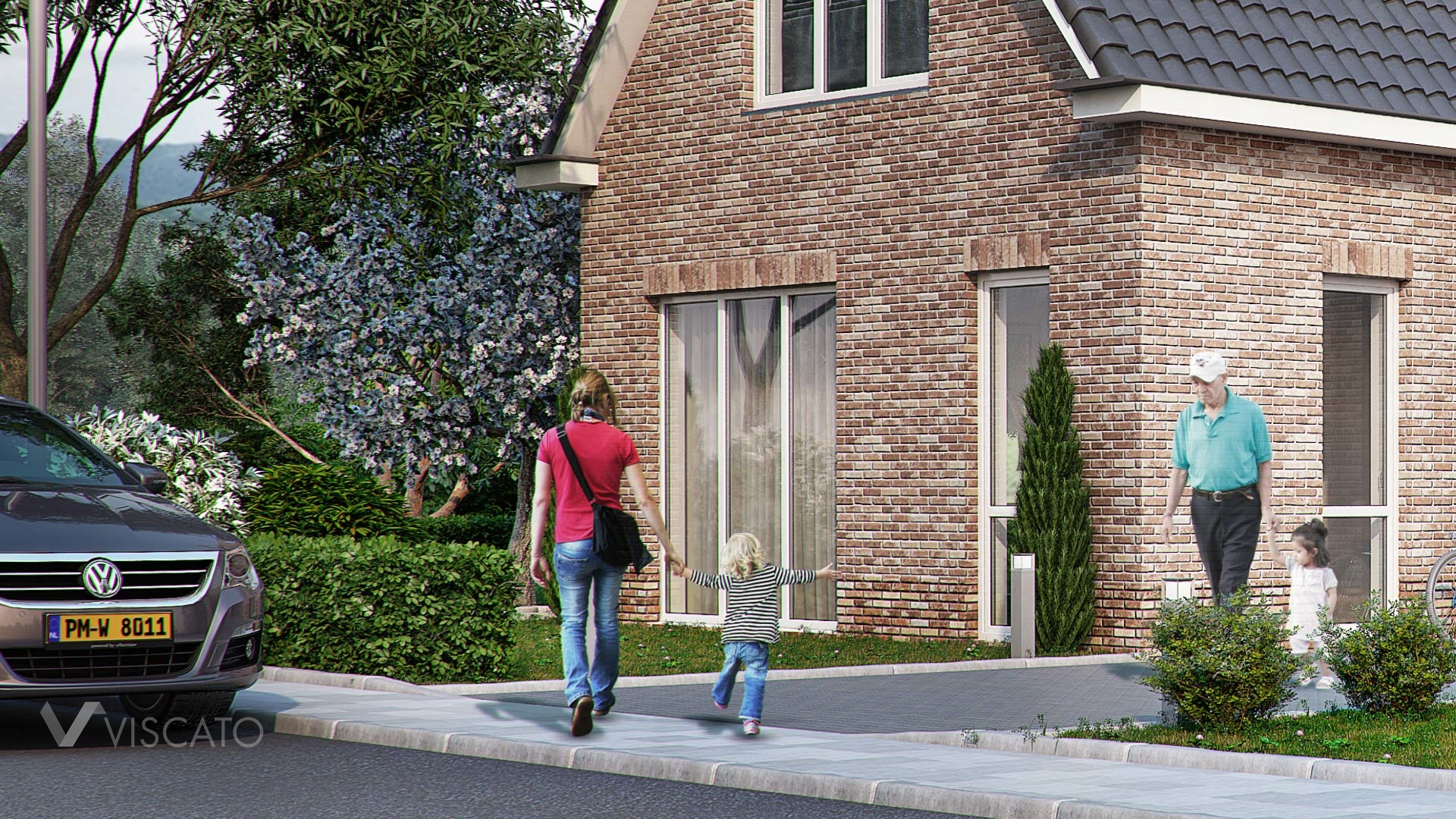 3d Visualization of Brick house with street and car