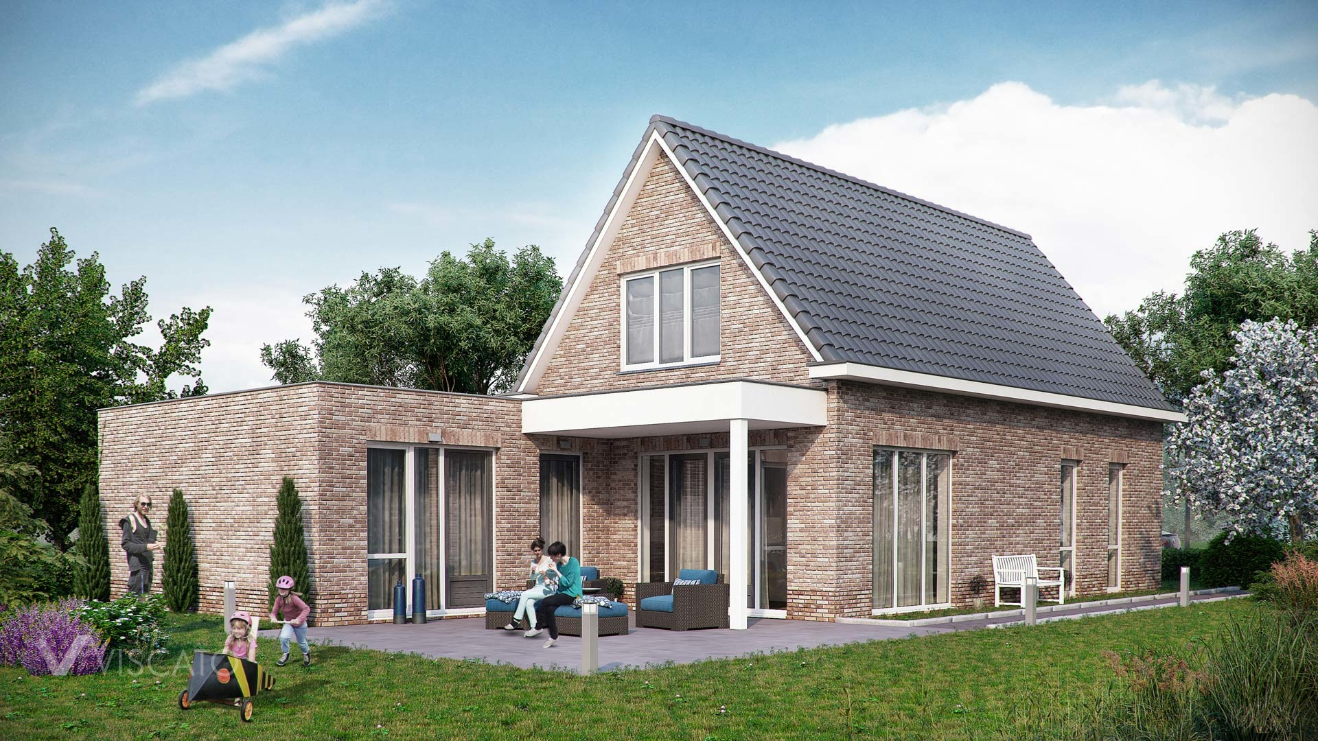 3d Visualization of Brick house with terrace- garden view