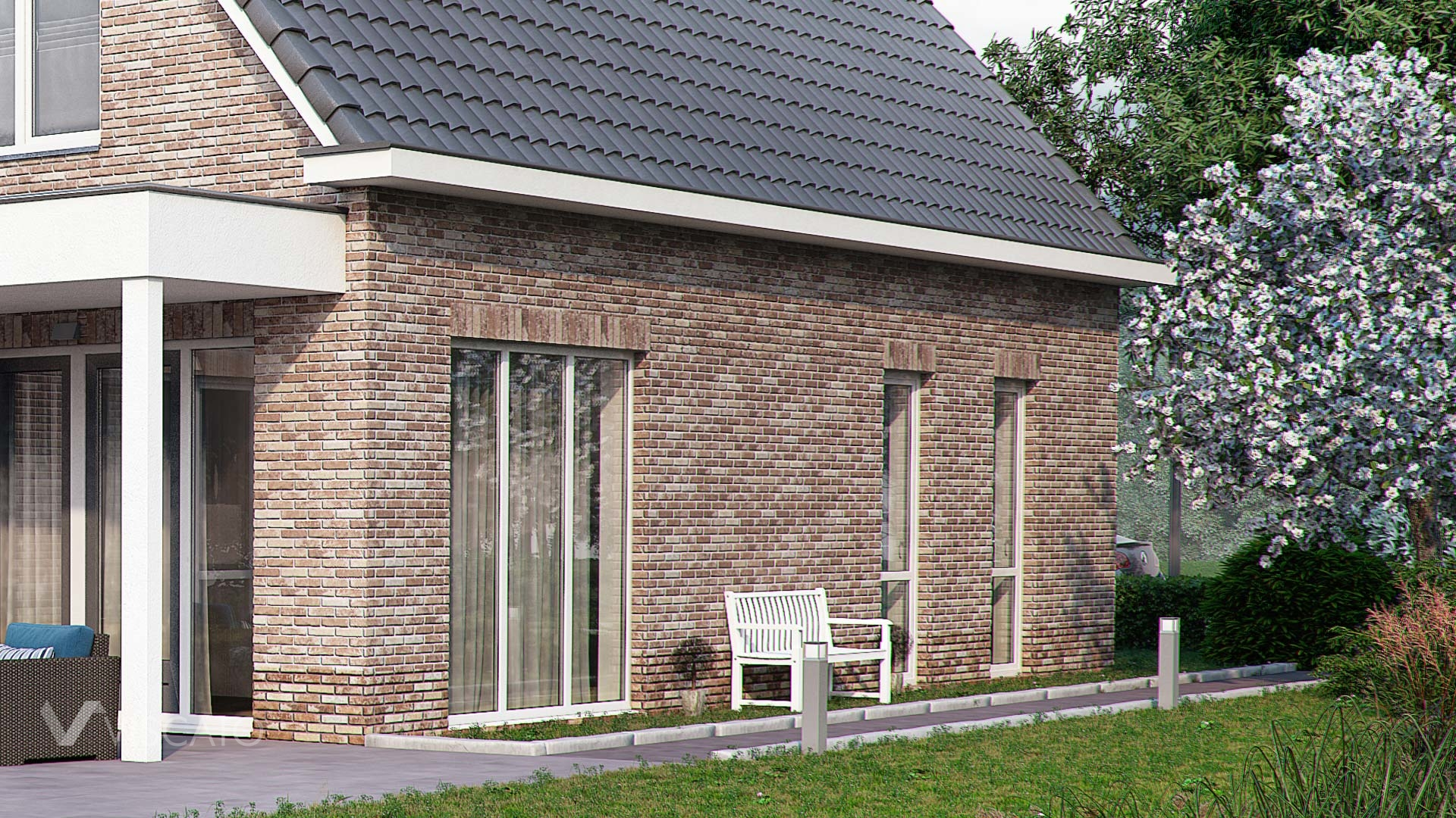 3d Visualization of Brick house with garden - part of a garden