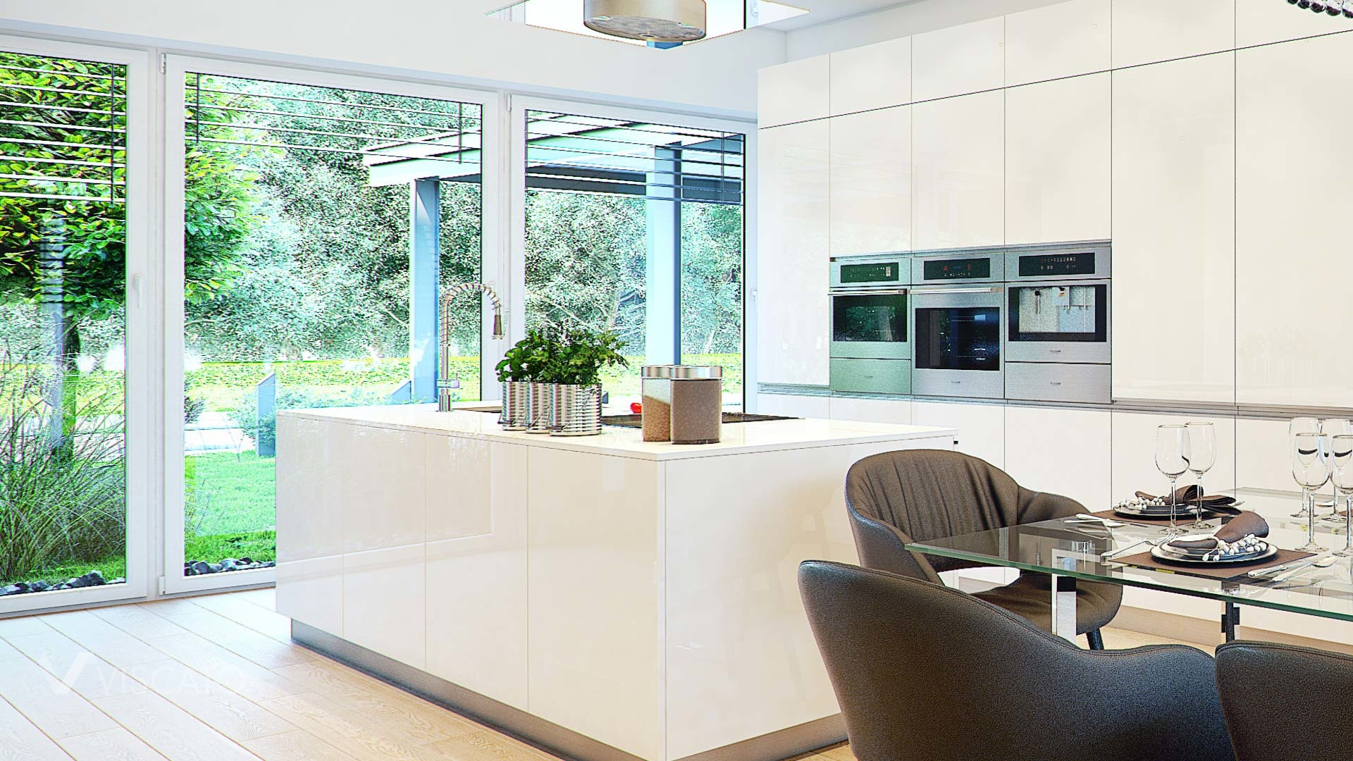 Interior visualization of kitchen with garden behind windows