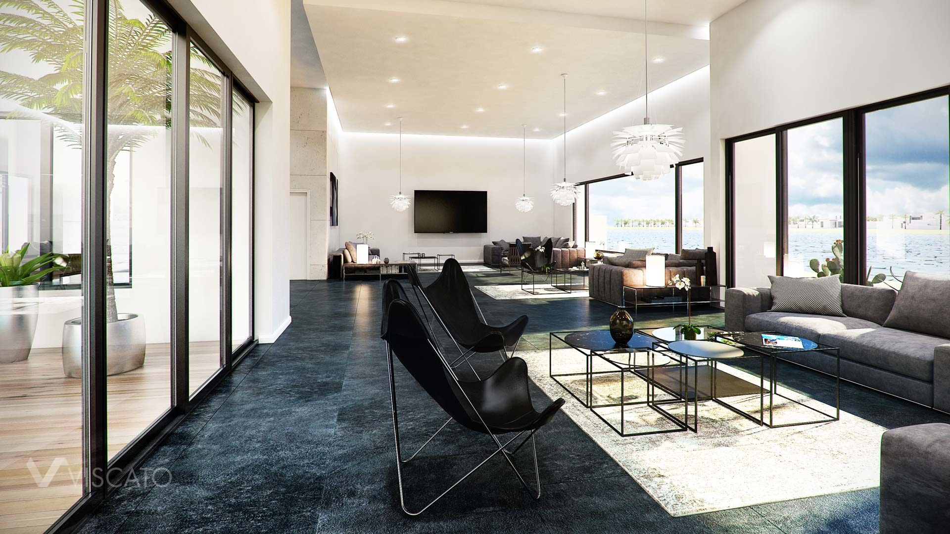 3d interior visualization- a reception view with terrace