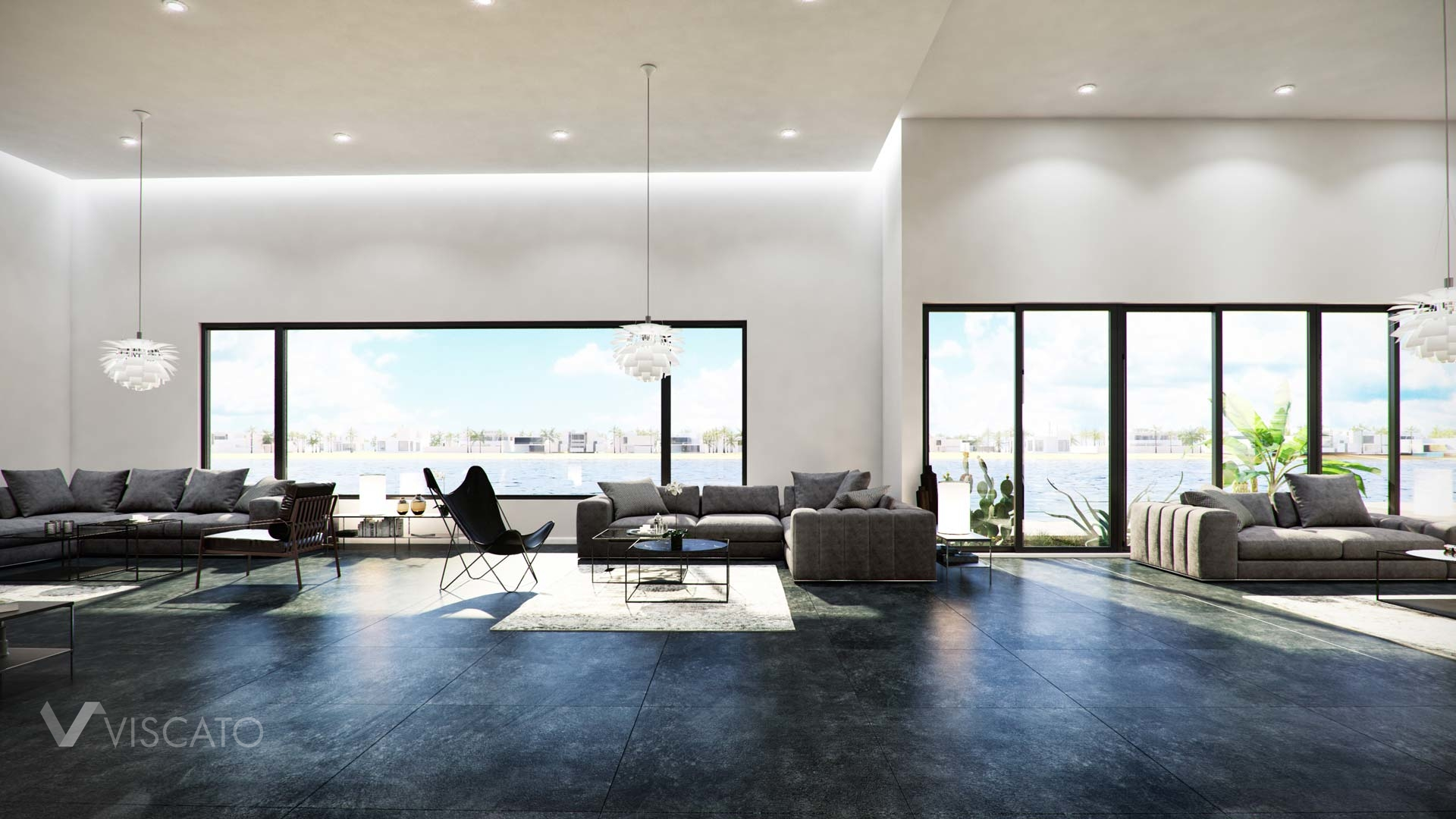 3d interior visualization- a wide view over a reception