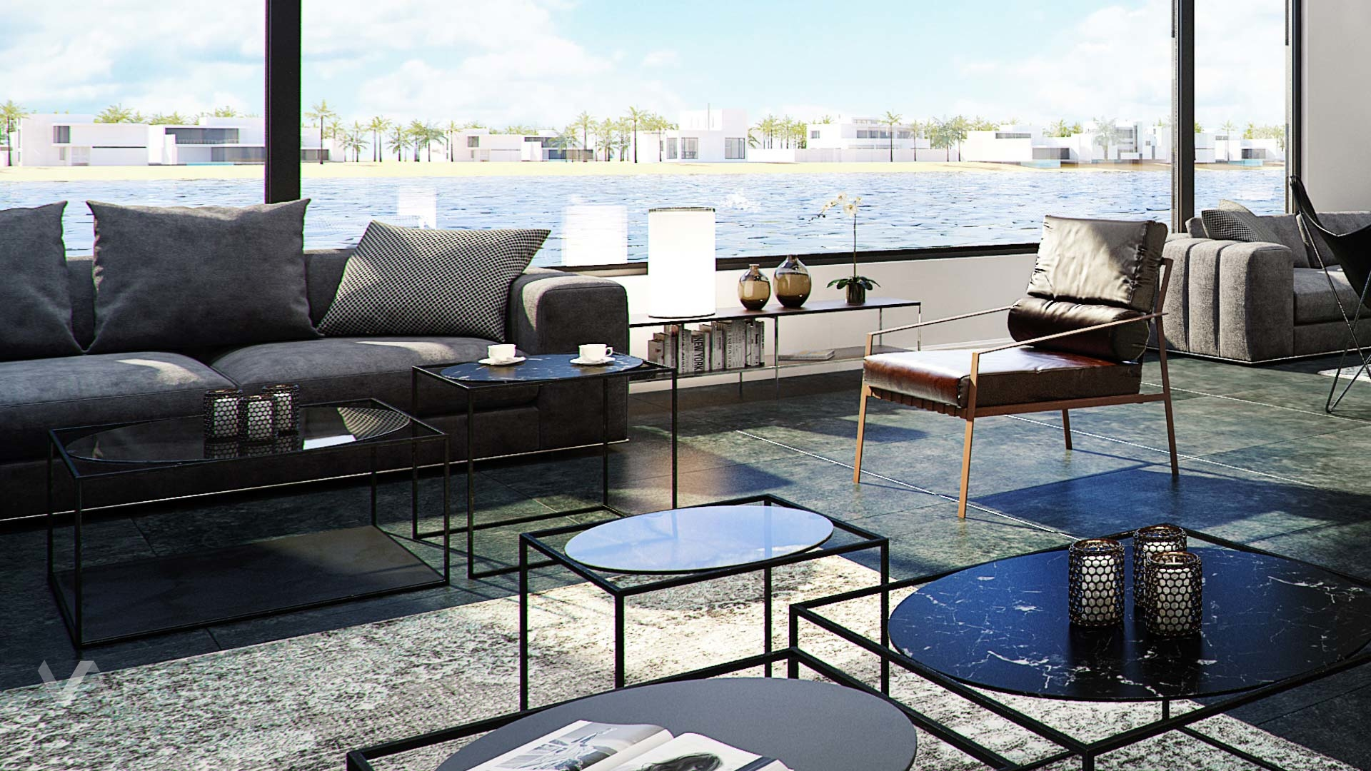 3d interior visualization- a reception with seaside behind window