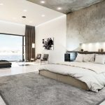3d interior visualization- concrete wall and ceiling in bedroom