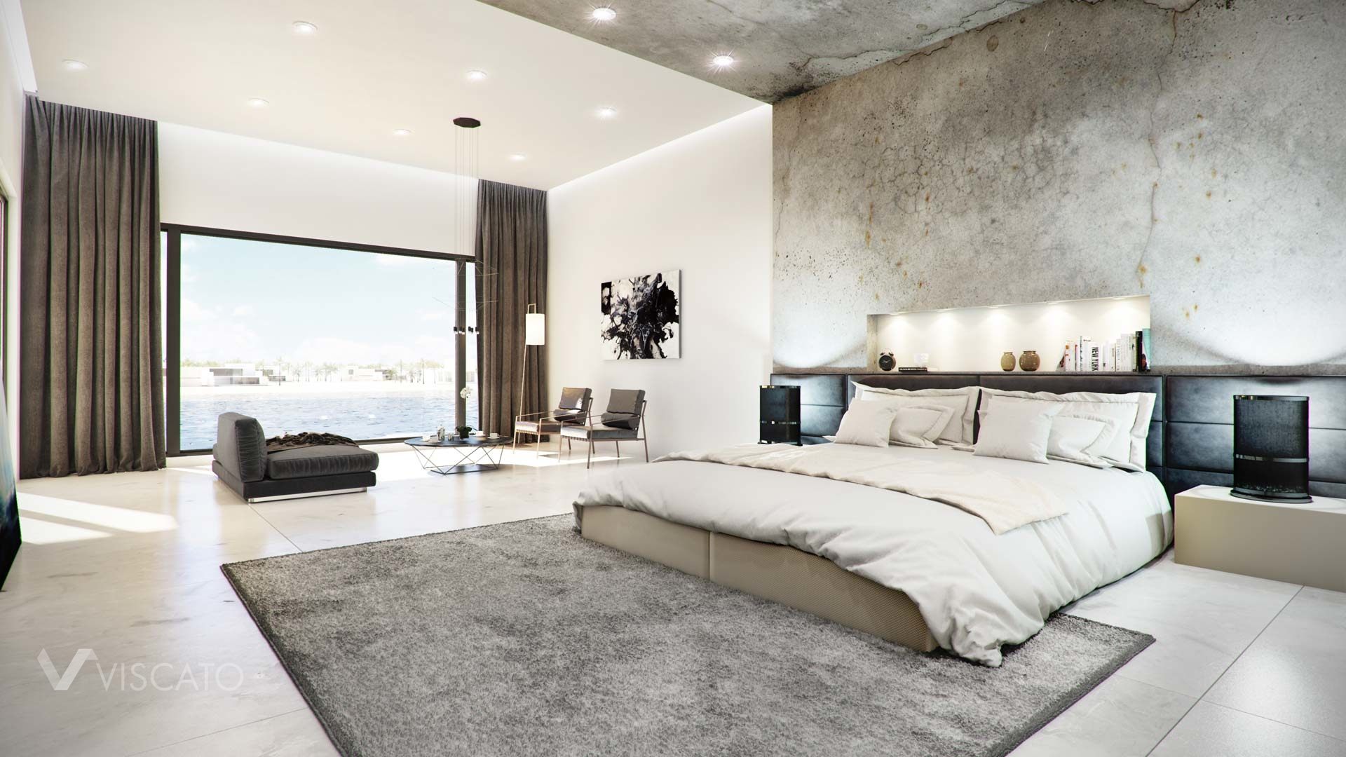 Concrete Finished Modern Bedroom 3d Visualization Interior