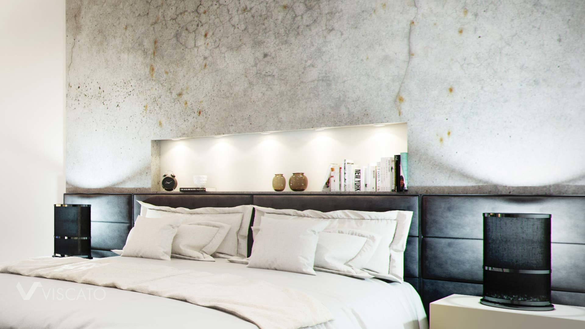 3d interior visualization- a concrete wall in bedroom