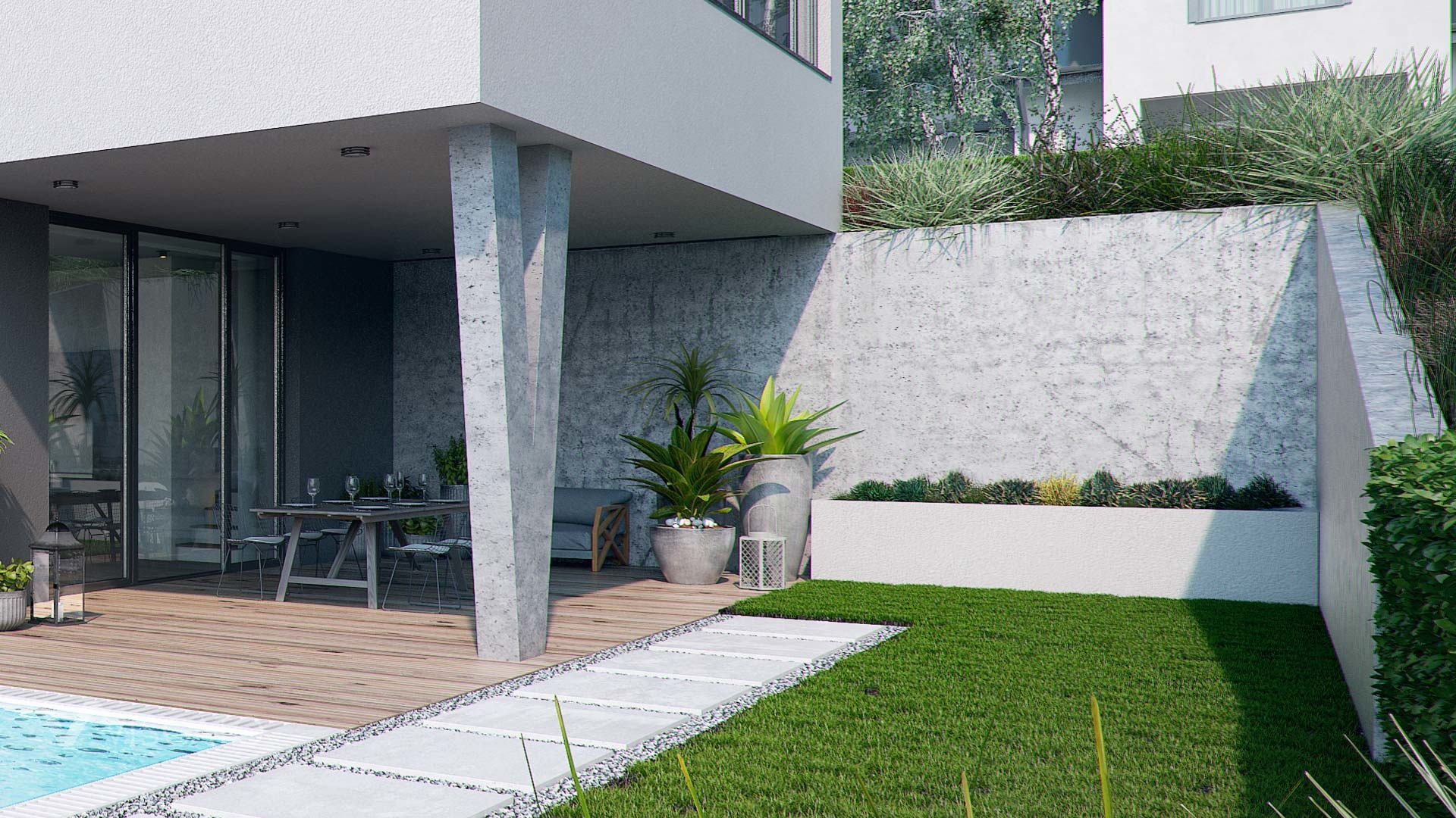 3D visualisation of the house in Walding, Austria- backyard view