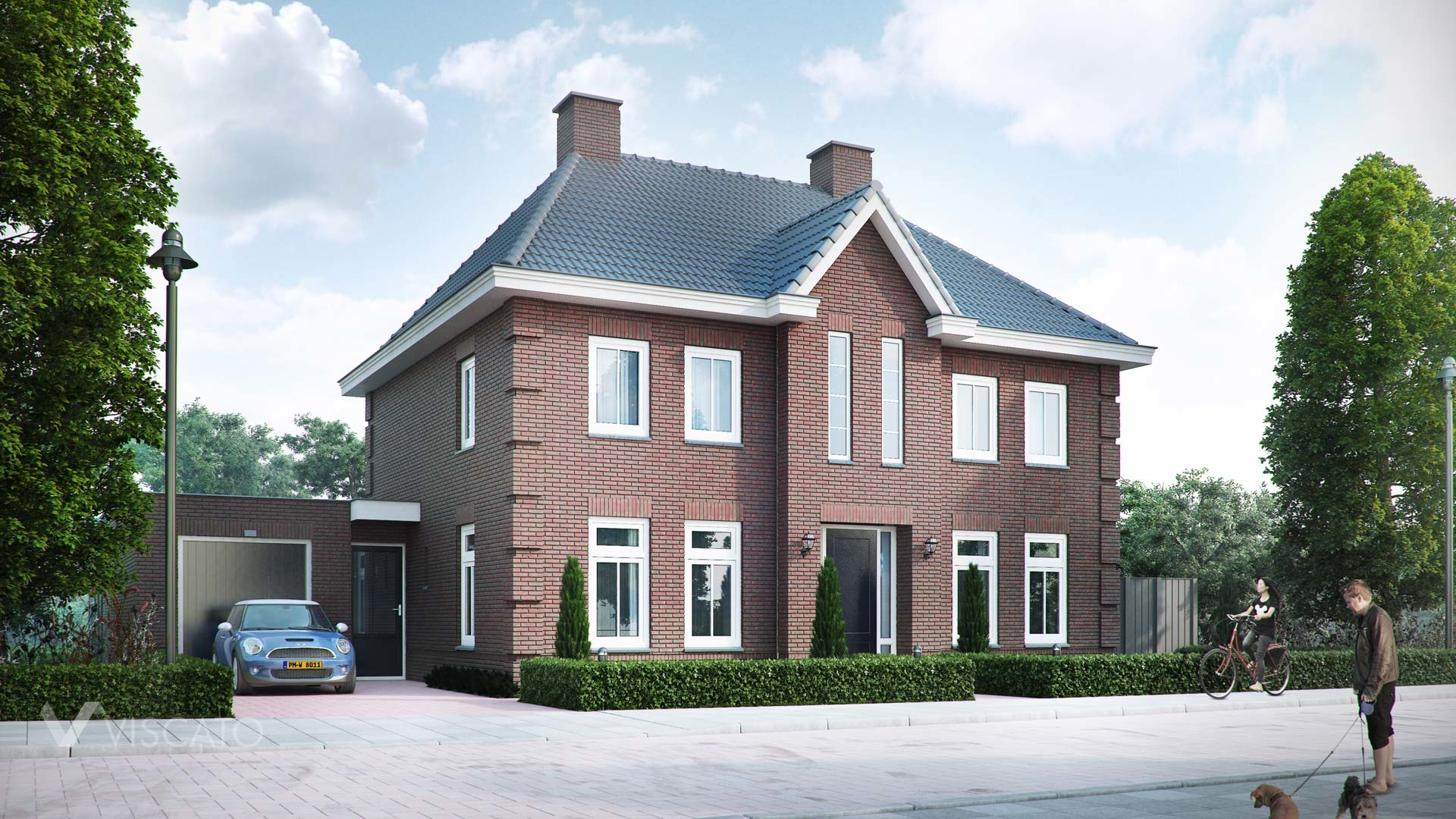 Brick villa house in Holland - street view with entrance and garage