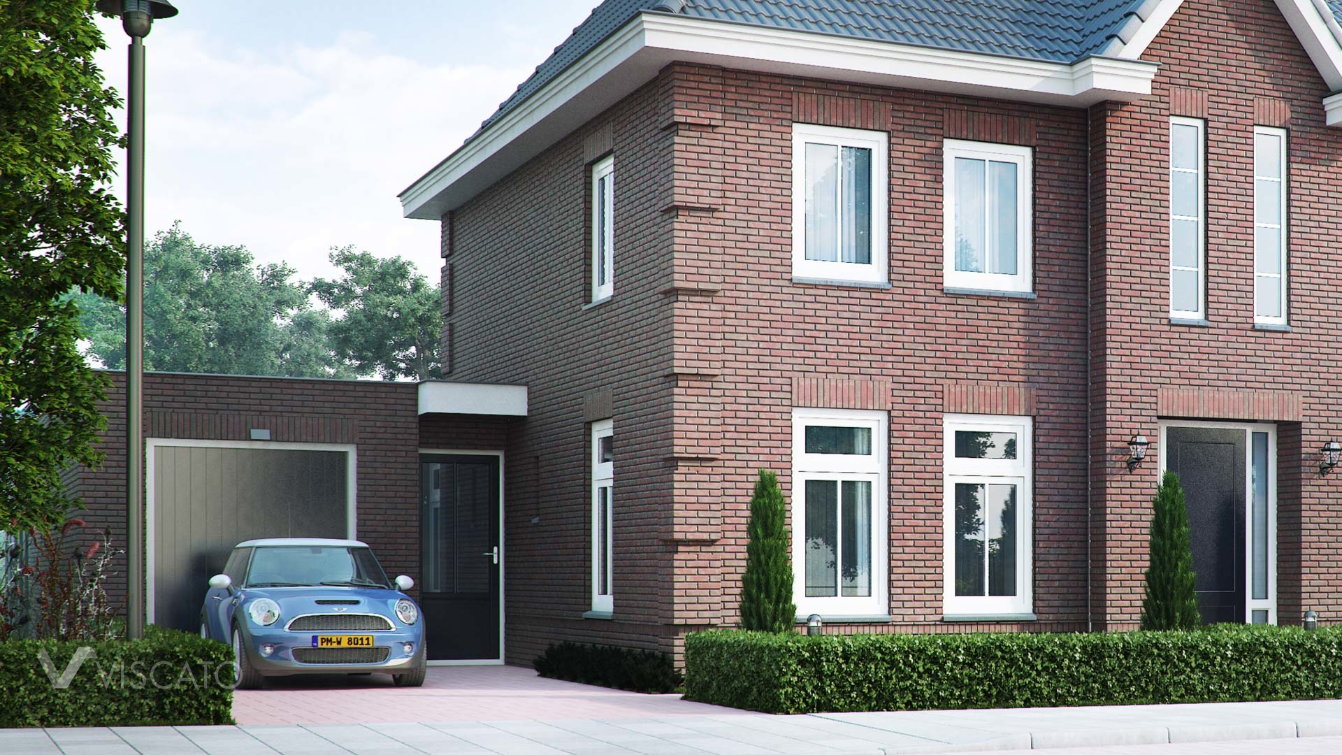 Brick villa house in Holland- front view entrance with garage