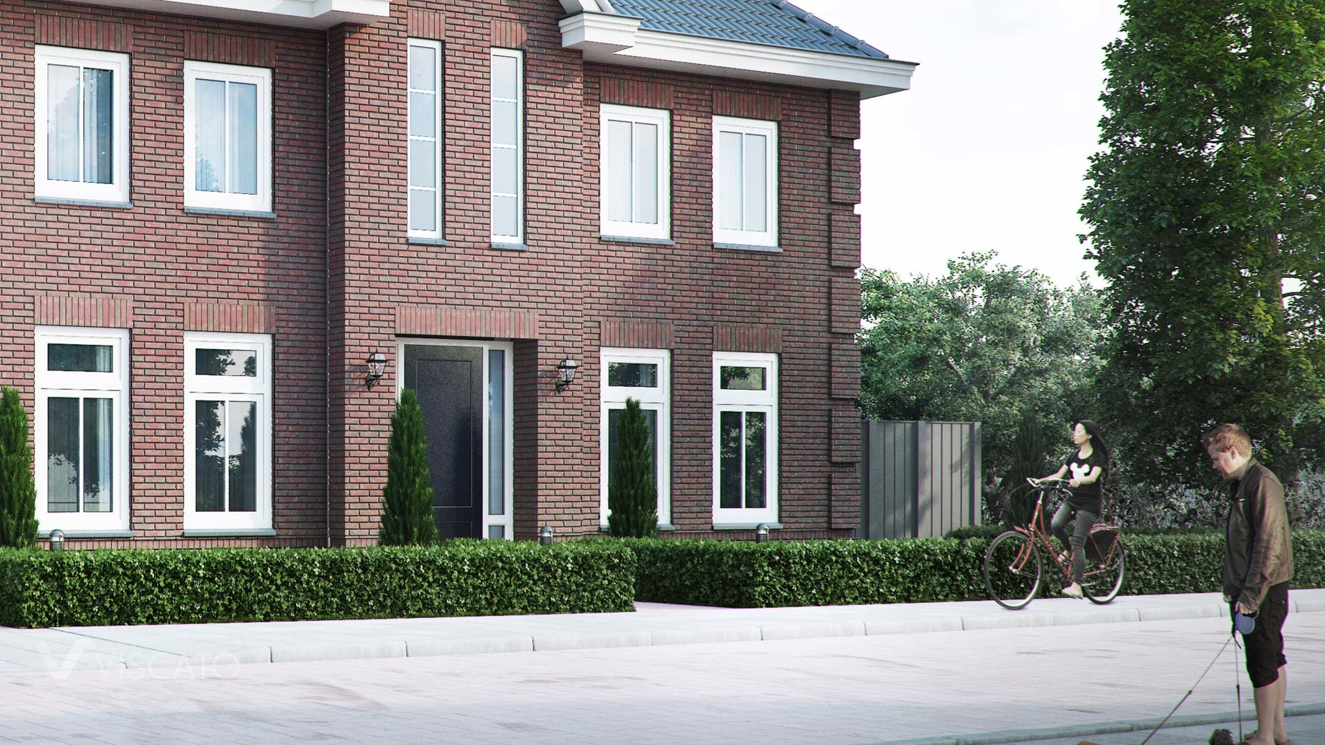 Brick villa house in Holland- front view entrance with hedges