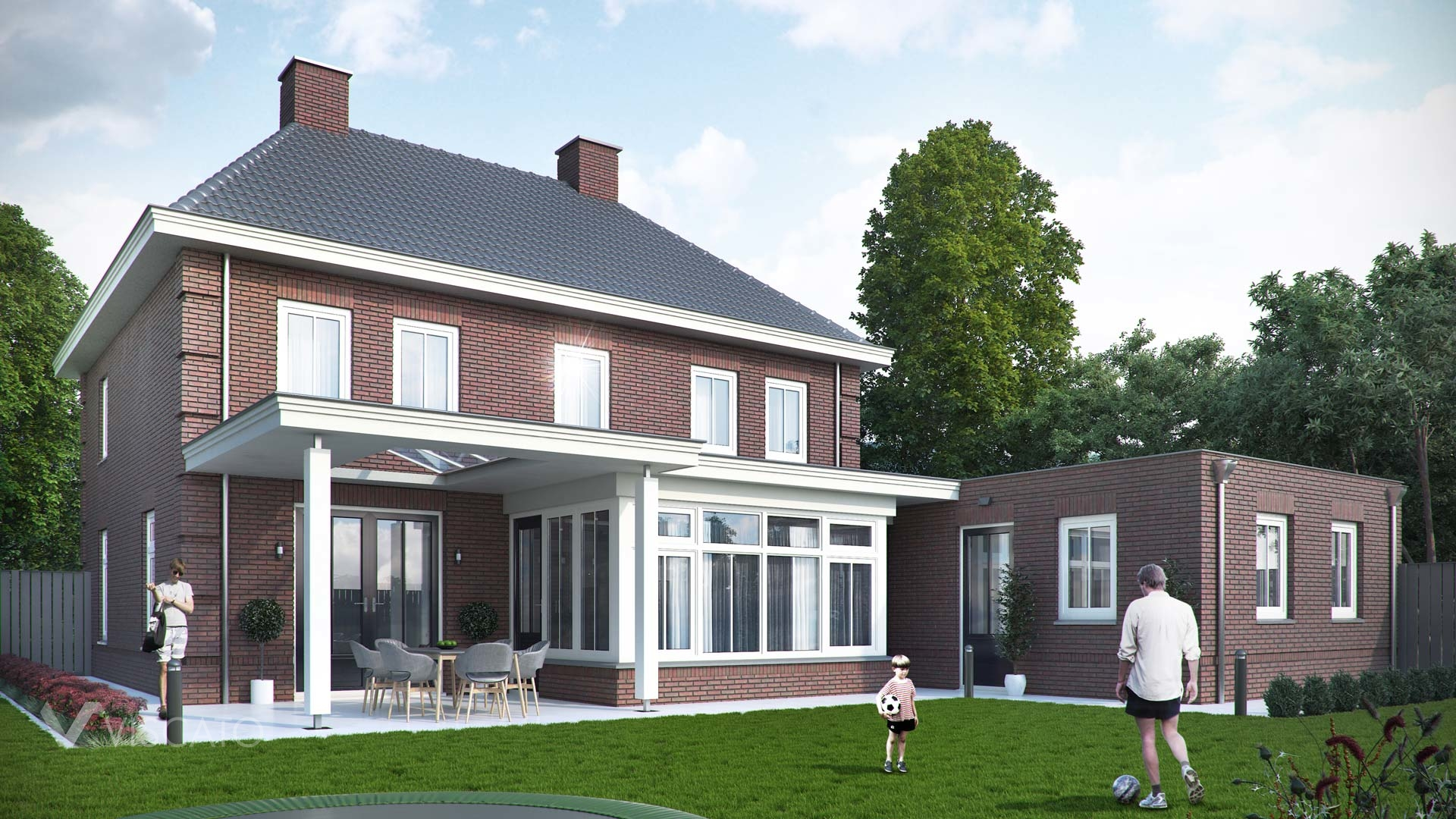 Brick villa house in Holland- garden view with lawn, garage and terrace