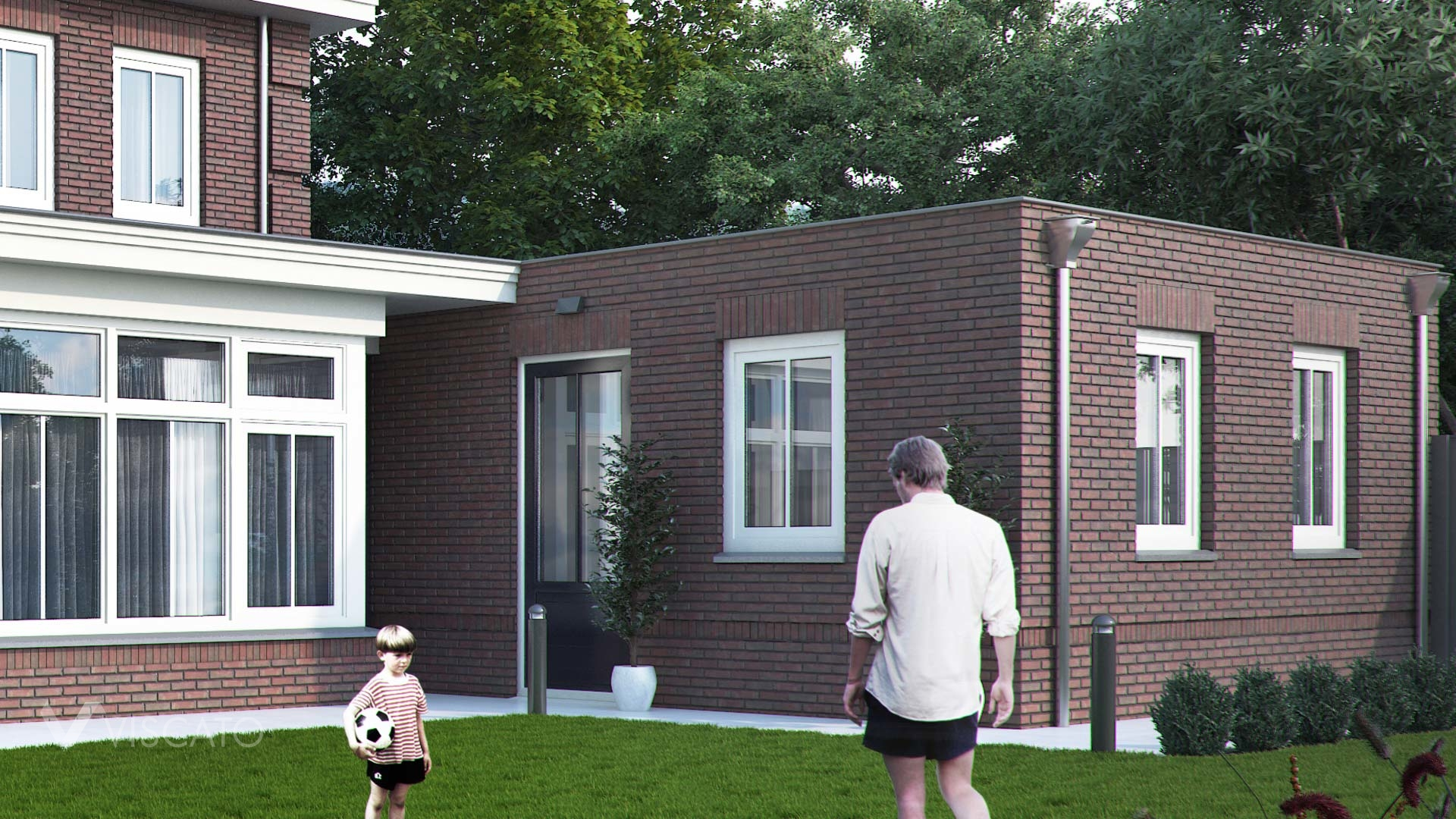 Brick villa house in Holland- garden view with garage