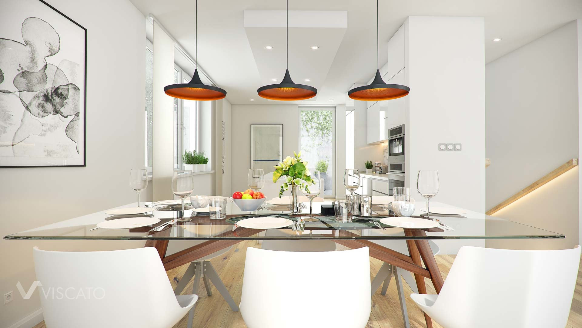 3d visualisation of a classy dining area with three lamps