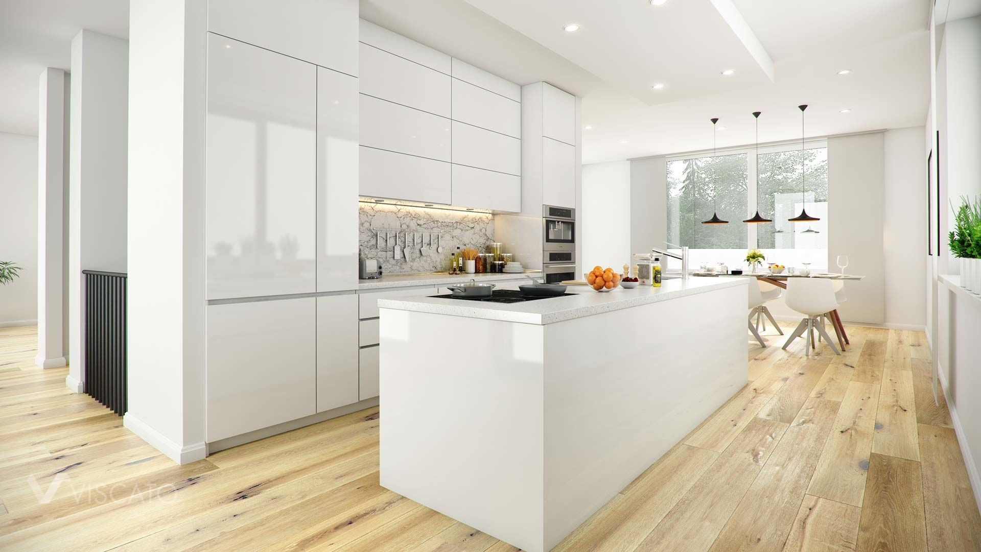 interior 3d visualisation of a kitchen with a modern kitchen island