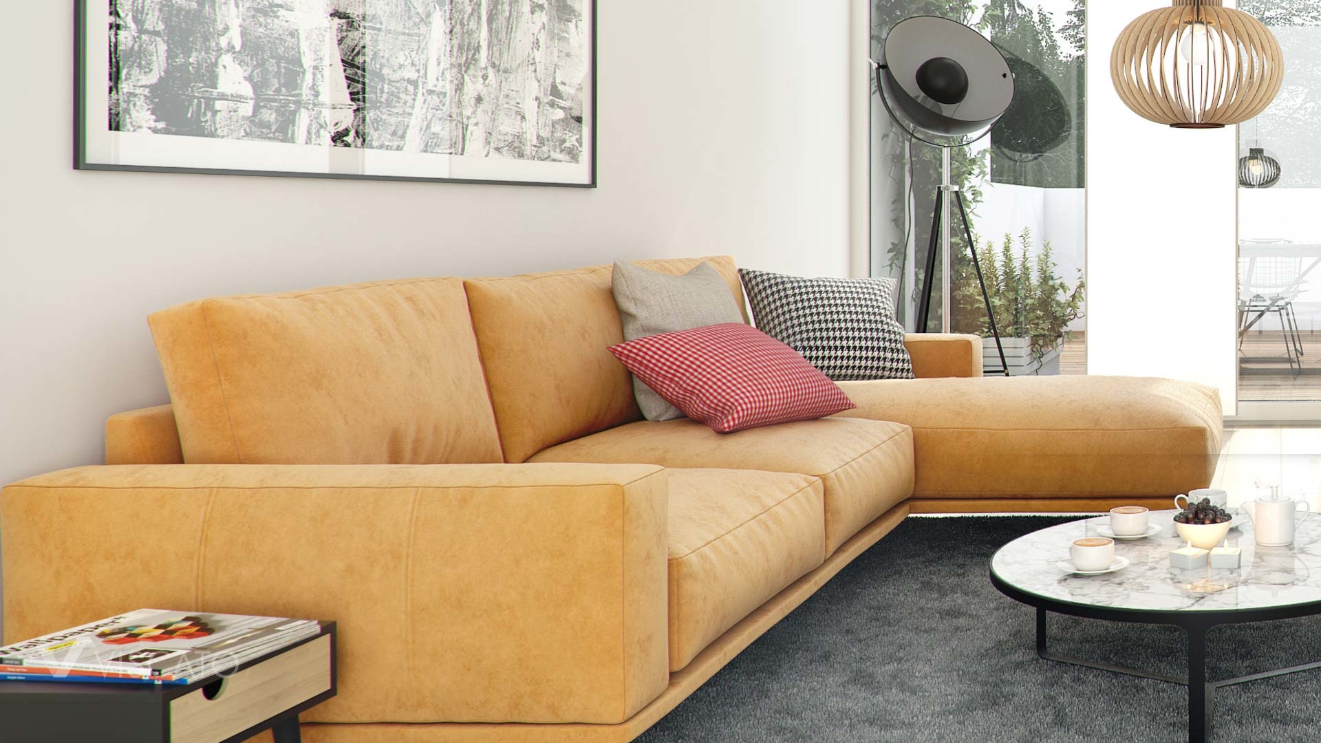 Yellow suede sofa - detail of interior 3d visualization