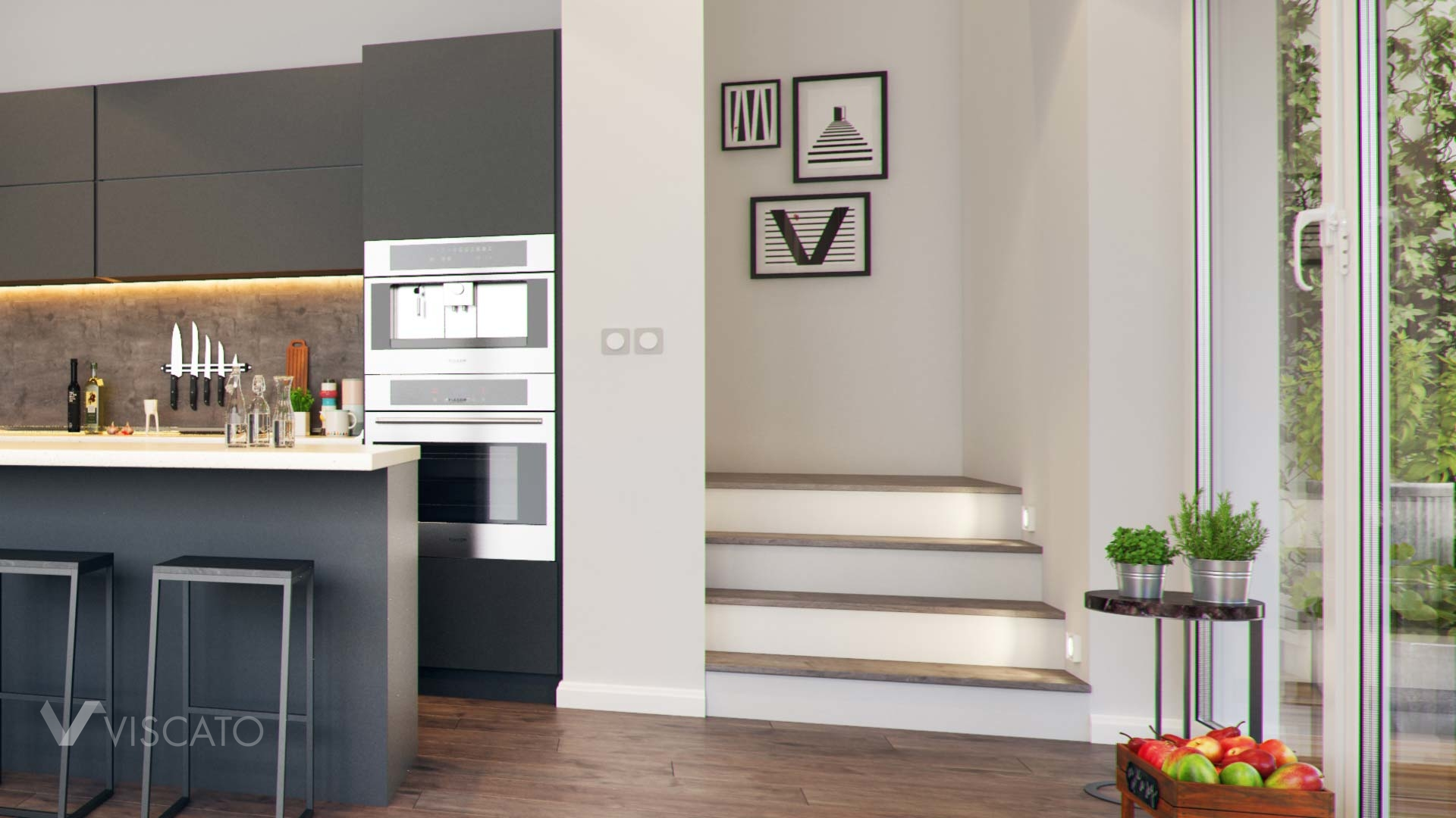 interior 3D visualisation- view on the stairs