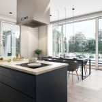 3D visualisation of a spacious kitchen with a dining table