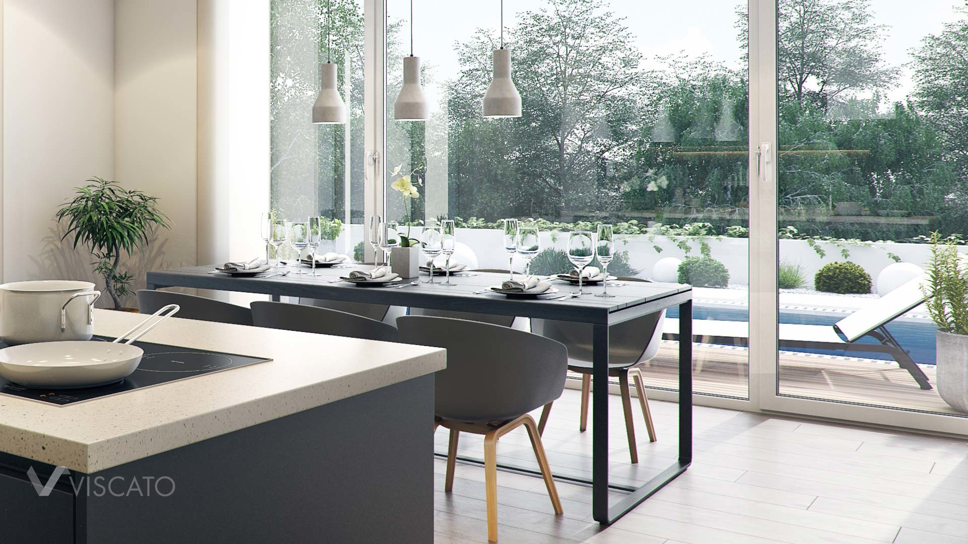 simple and modern dining room with a garden view