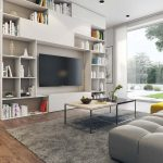 interior 3D visualisation of a trendy living room