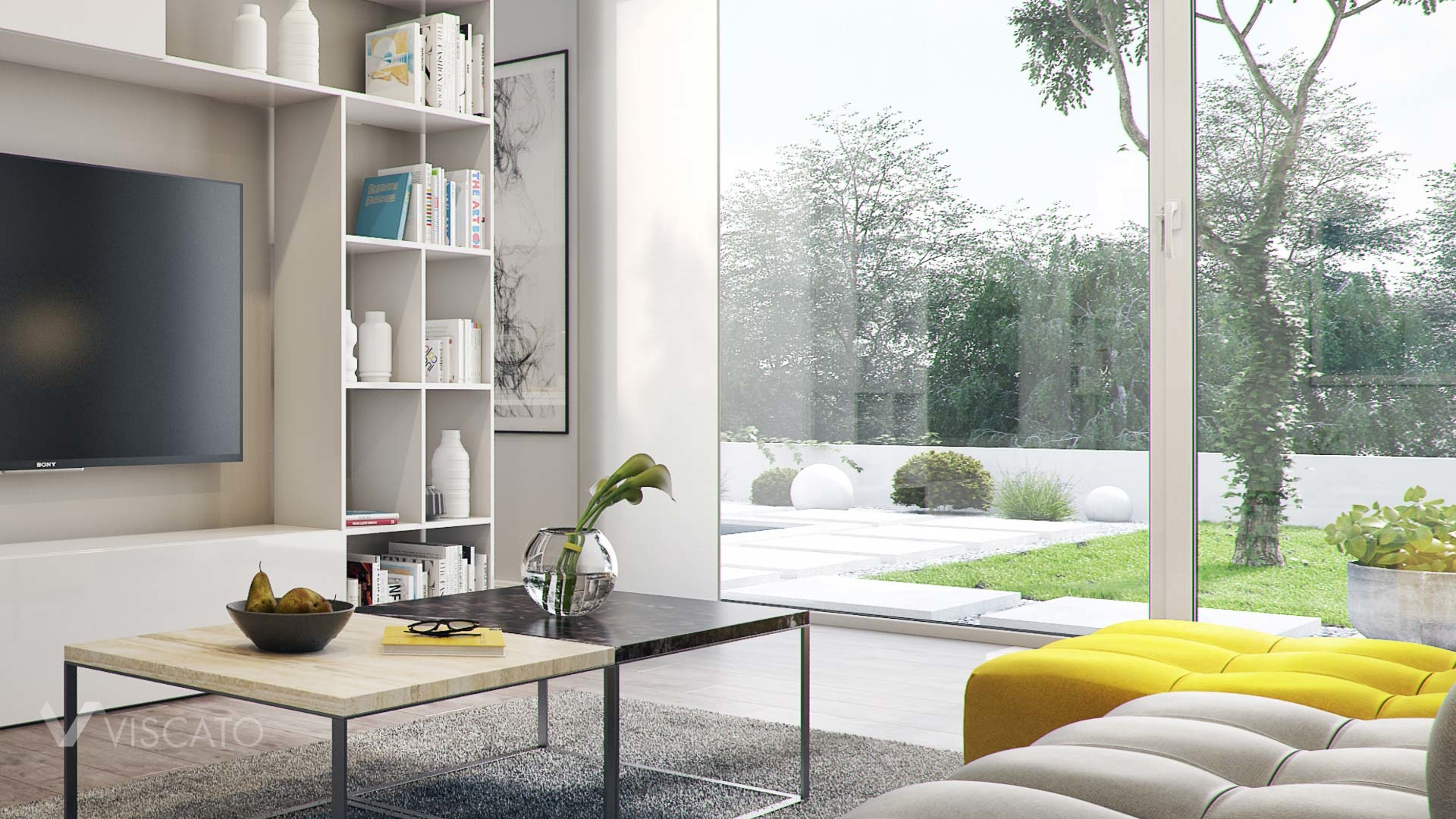 stylish living room 3D visualisation with a garden view