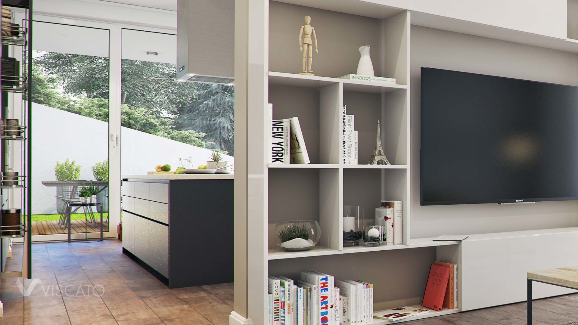 detailed 3d interior visualisation of a modern living room with a Tv set
