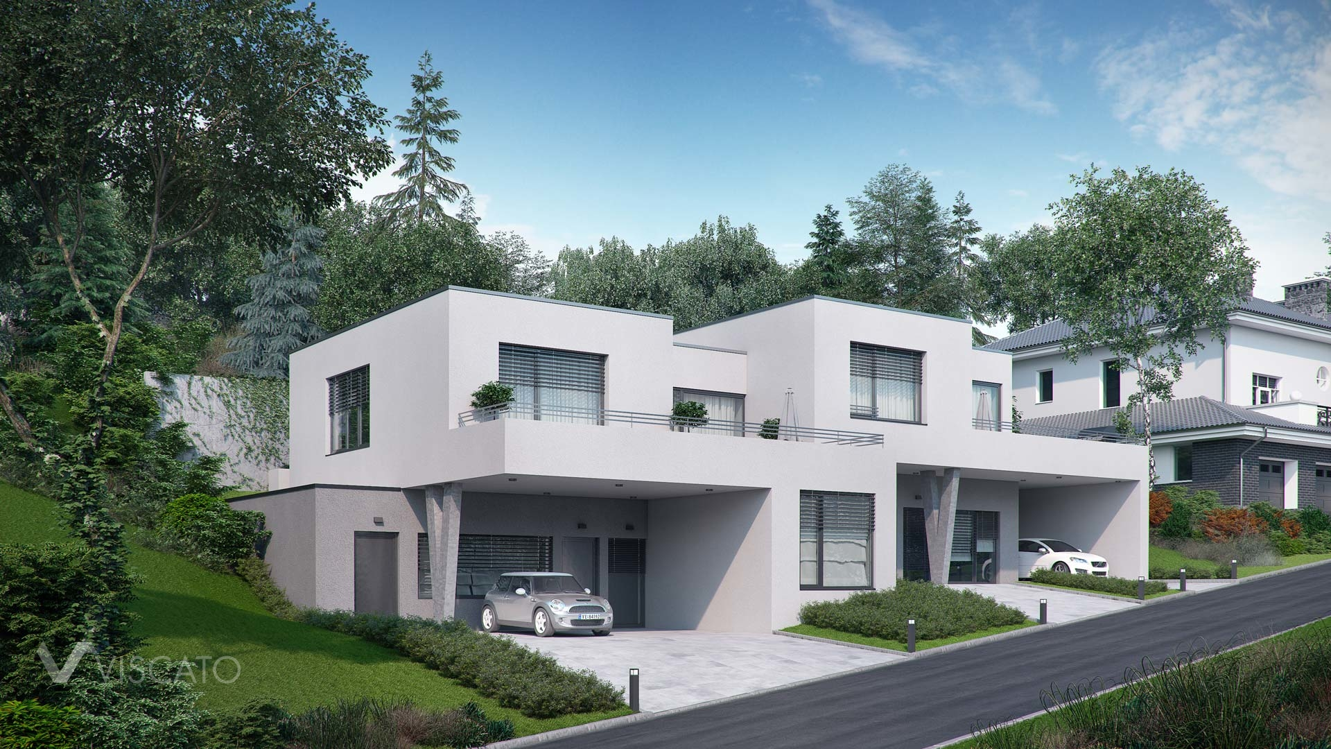 Visualization of duplex house in Walding, Austria - front elevation with street