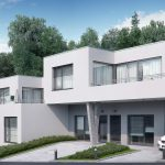 Visualization of duplex house in Walding, Austria - front elevation with environment