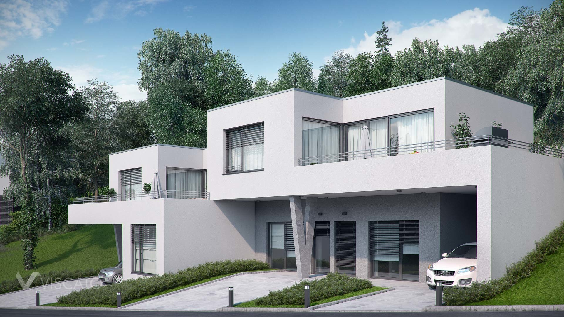Duplex house 3d exterior visualization in walding austria for Ome images