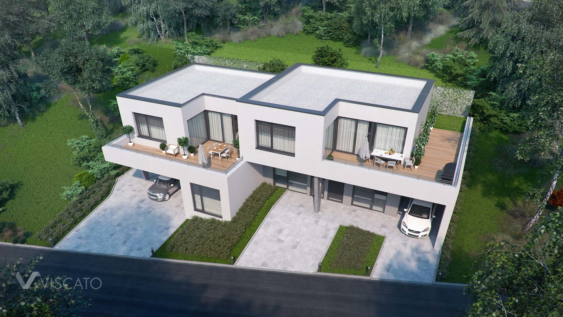 Visualization of duplex house in Walding, Austria, birds eye view