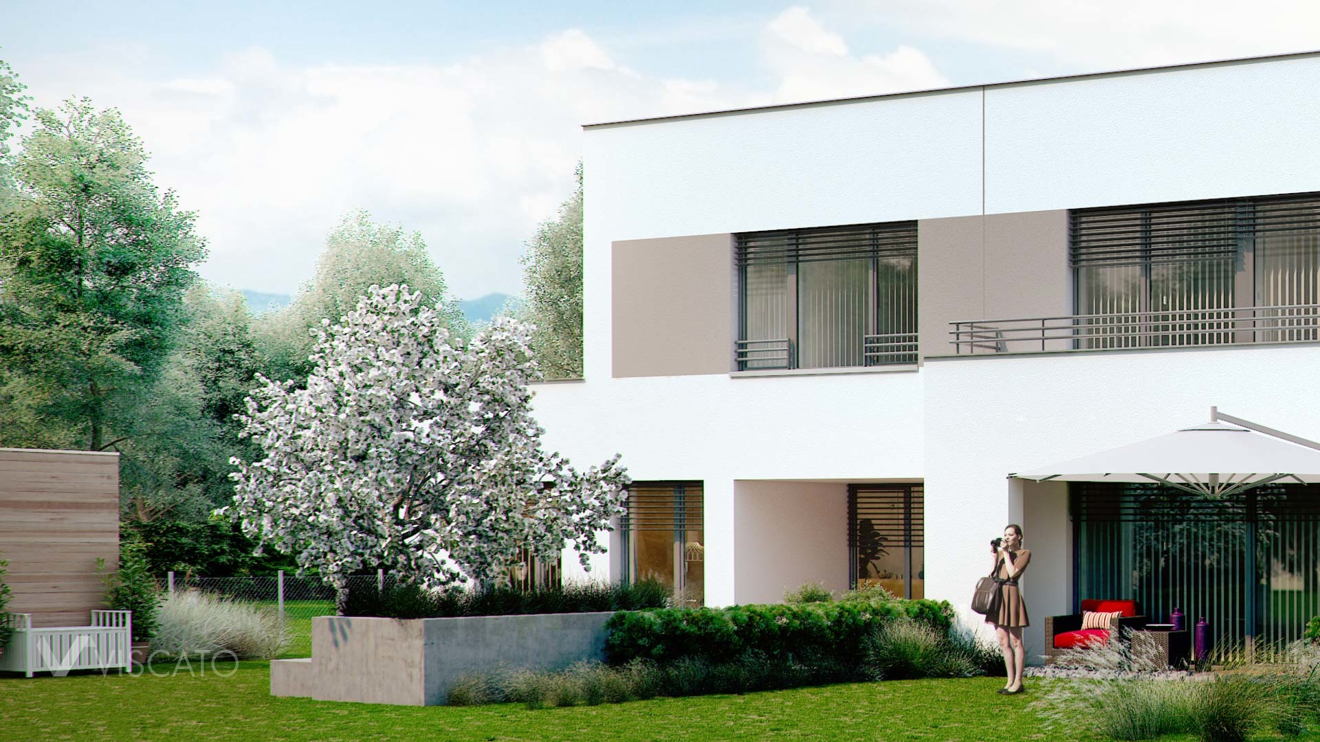 Multi-family house in Ottensheim, back elevation with contemporary garden