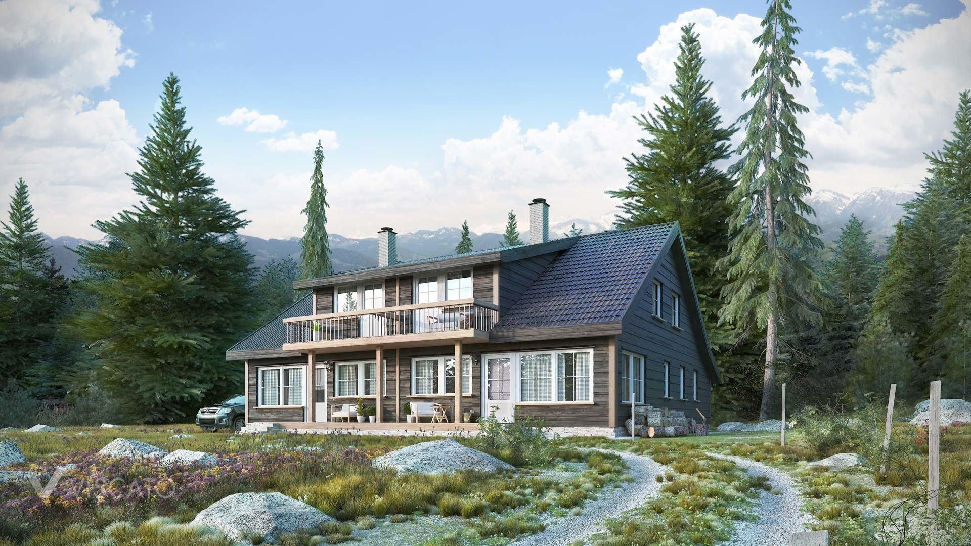 3d vizualization of a cottage in Norwegian forest