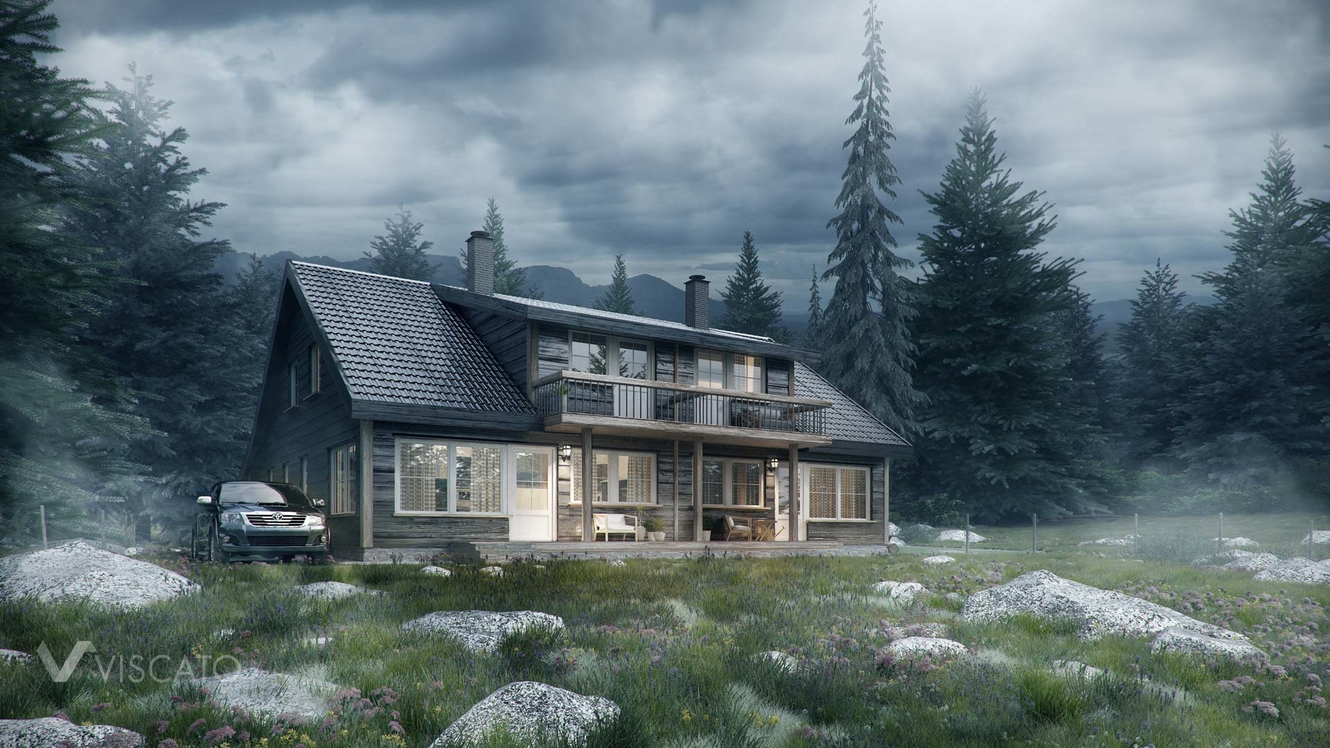 3d visualization of a wooden house in Norwegian forest, stormy weather