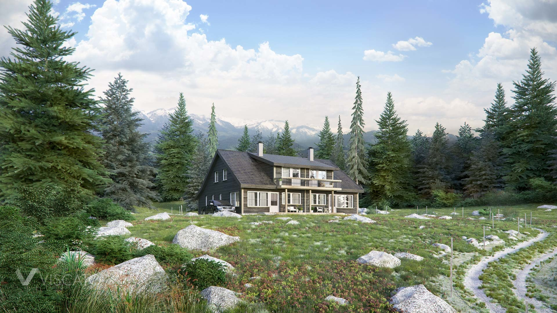 3d visualization of a cottage with wood paneling, landscape view