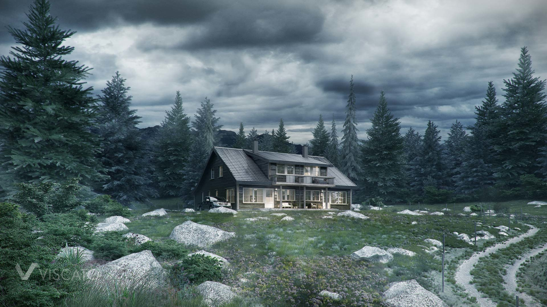 wooden house in the countryside- 3d visualization, landscape view