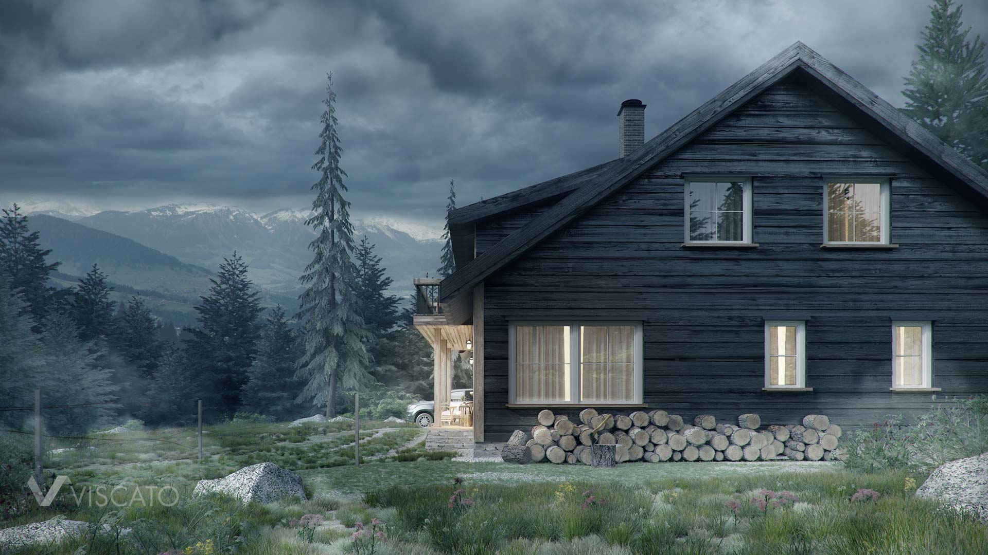 3d visualisation of a wooden cottage in Norway- stormy evening view