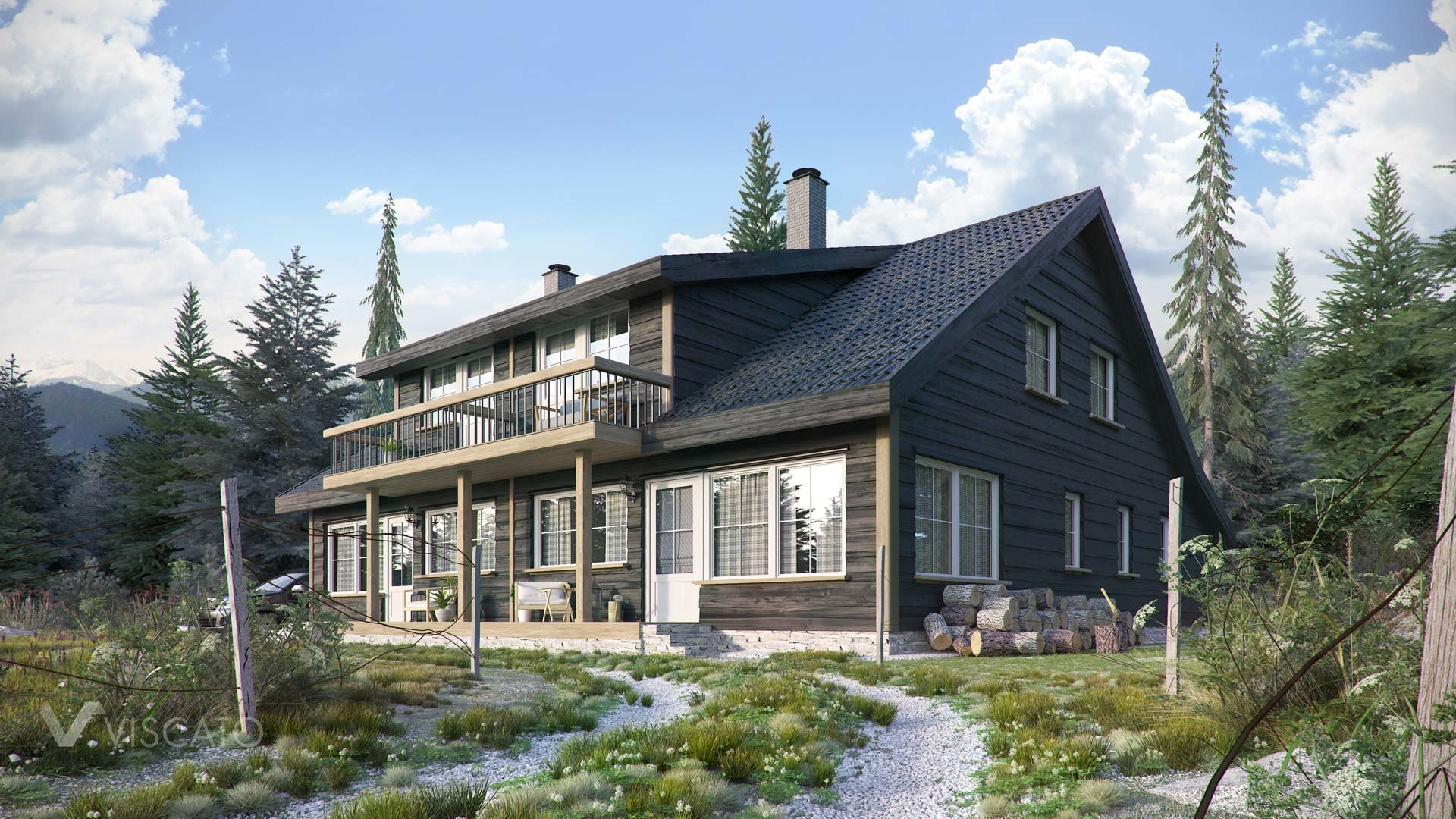 3d visualization of a lodge- Norway, detailed view