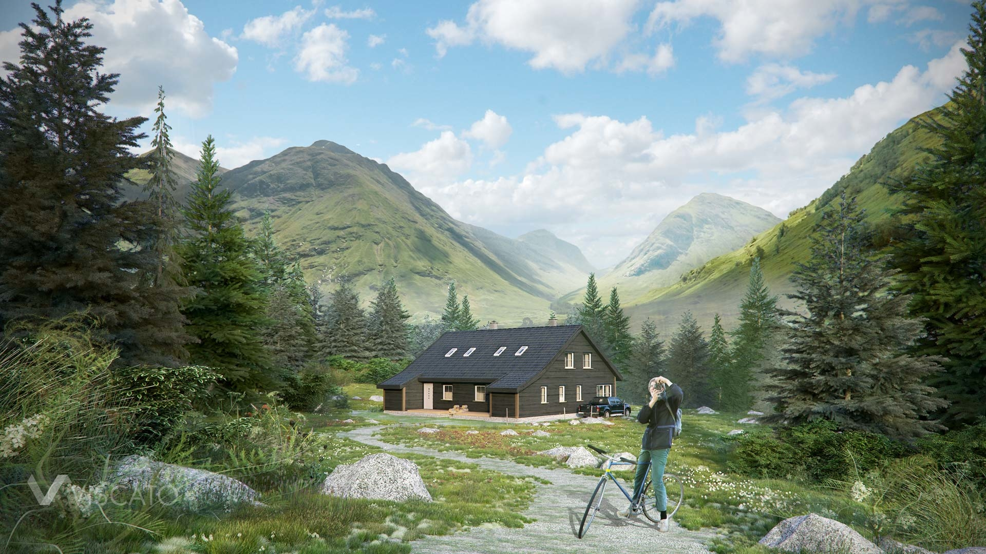 a wooden house in the mountains- 3d visualisation- wide view