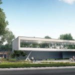 Modern office building in the woods- front view, 3d rendering