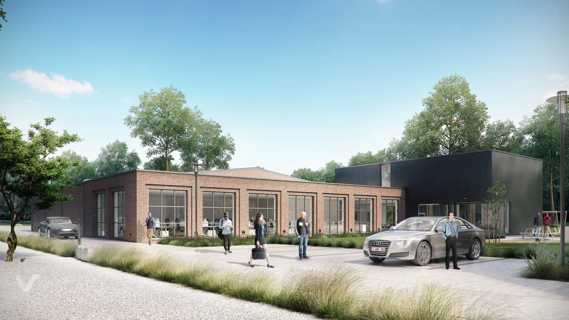 industrial style office building with the parking lot- 3 d visualisation