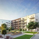 housing estate with a garden in the courtyard - 3d rendering