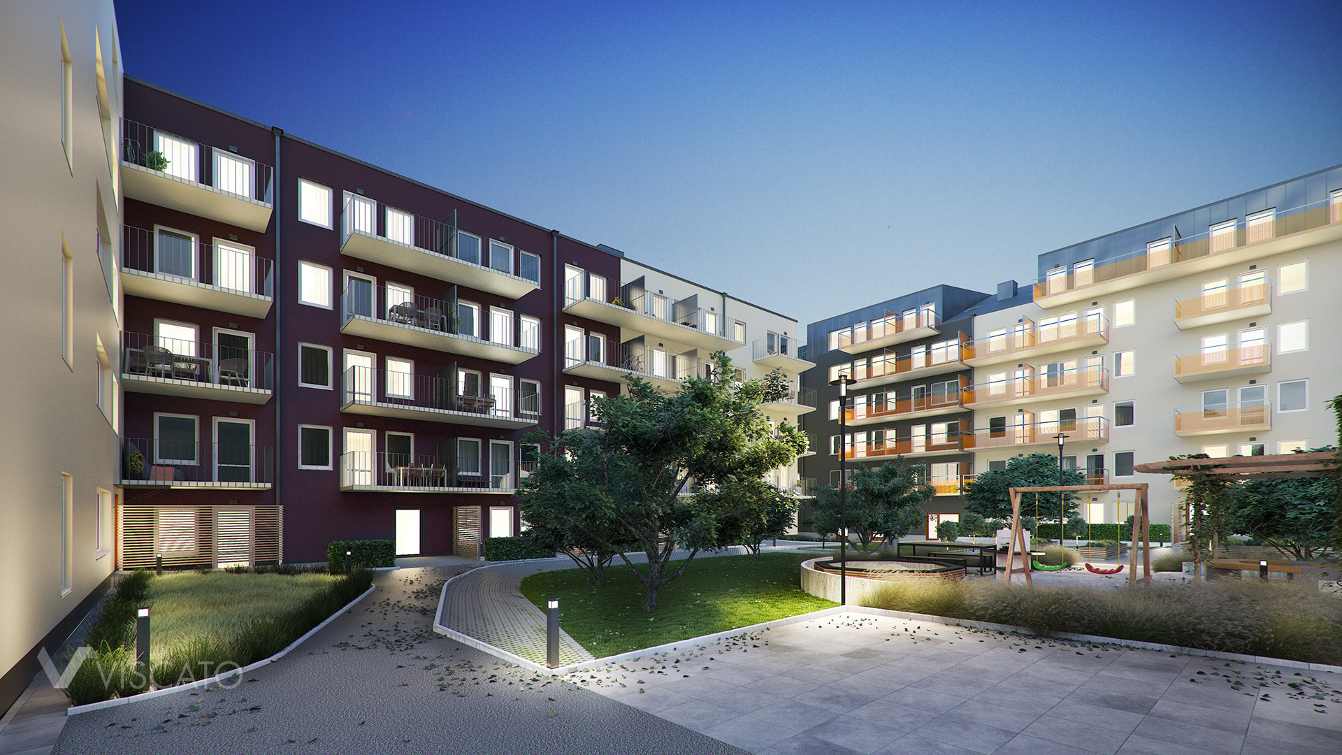 architectural visualisation of a multi family building- evening view