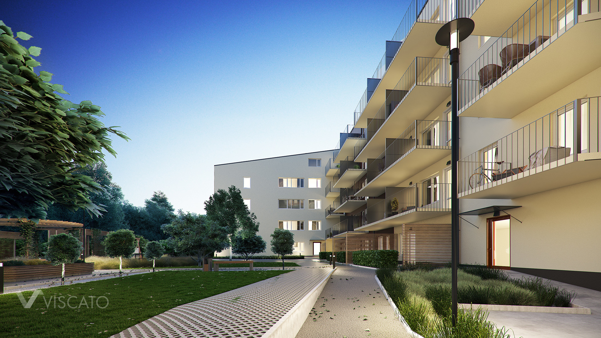 3d visualisation of a multi-family buidling- evening light